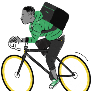 Food Courier on Bicycle