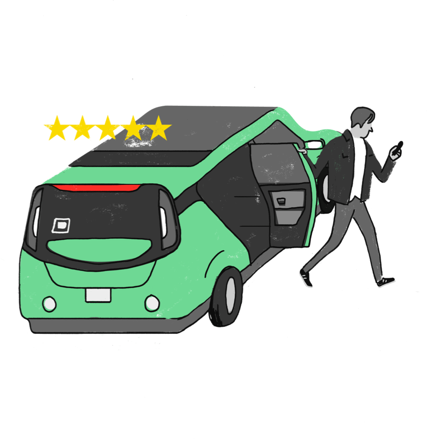 illustration of passenger exiting car and leaving a review for the driver on his phone