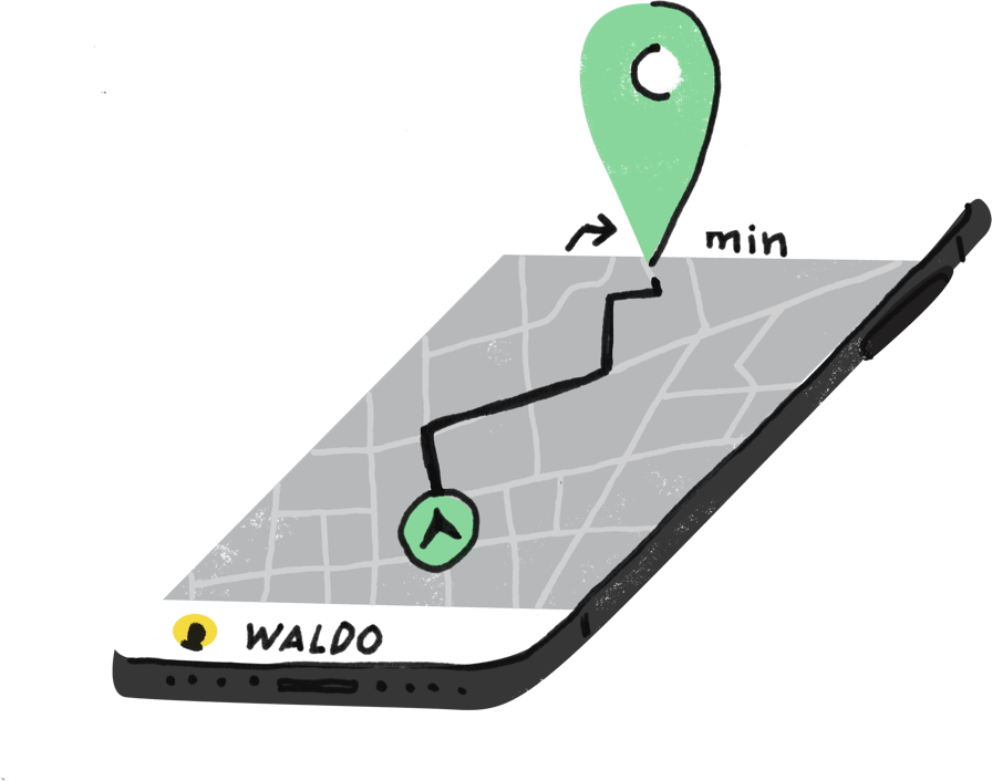illustration of a smartphone depicting a map with a destination and directions